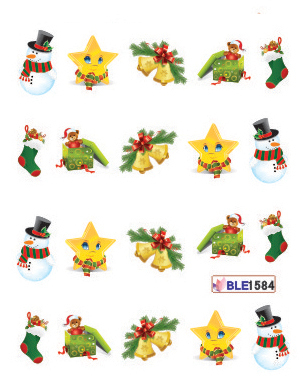 20cards/opp Christmas water transfer nail stickers/nail decals ,free shipping cost, choose your design,non-toxic