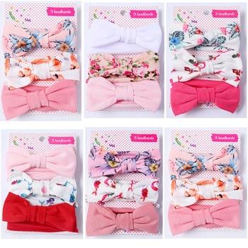 3 Pcs/Set Floral Bows Baby Headband Dot Bowknot Haarband Baby Girl Headbands Cotton Kids Hair Band Girls Hair Accessories 3