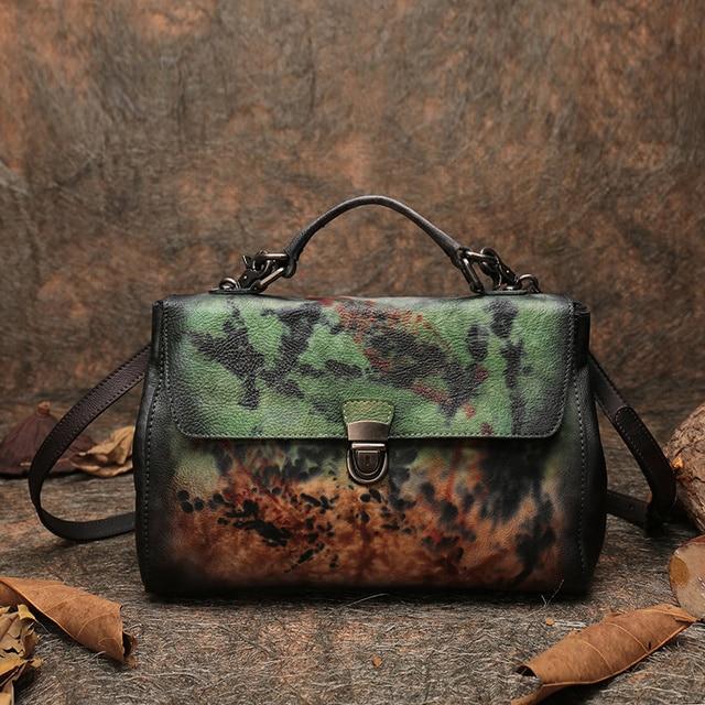 2018 Latest Shell Handbag Women Messenger Bags Handmade Genuine Leather Shoulder Sling Bag Lady FCTOSSR Retro Cover Handbags