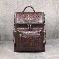 Модные дизайнерские натуральной кожи крокодила Для Мужчин's чёрный; коричневый рюкзак путешествия экзотические кожи аллигатора Мужской но