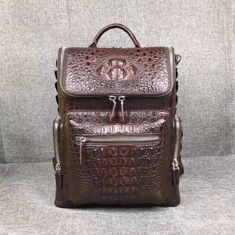 Fashion Designer Genuine Crocodile Skin Men's Black Brown Travel Backpack Exotic Alligator Leather Male Laptop Backpack For Man