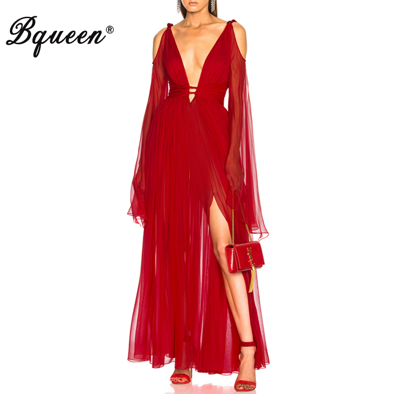 Bqueen 2019 New Women Fashion Sexy Plunge Neckline Cutout Mesh Relaxed Bodice Maxi Dress Red Party
