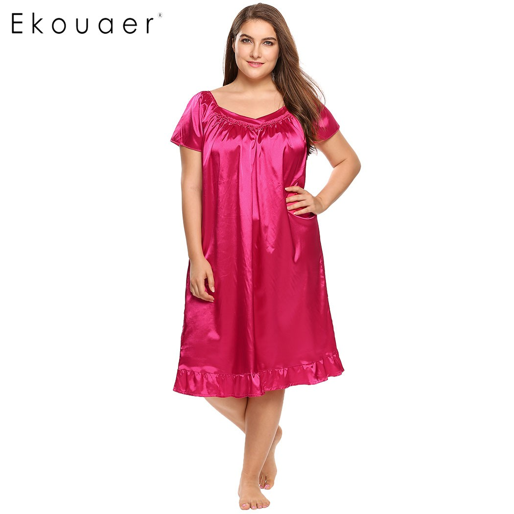 Ekouaer 2017 Brand Satin Nightgown Women Wrap V-Neck Short Sleeve Lotus Leaf Pleated Solid Dress Casual Loose Sleepwear