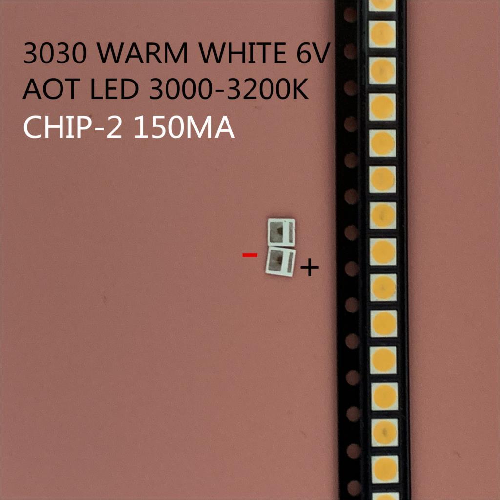 4000 pçs/lote 1w smd 3030 lâmpada led grânulo 110-120lm branco quente smd led contas 1w 3030 led 6v ww aot