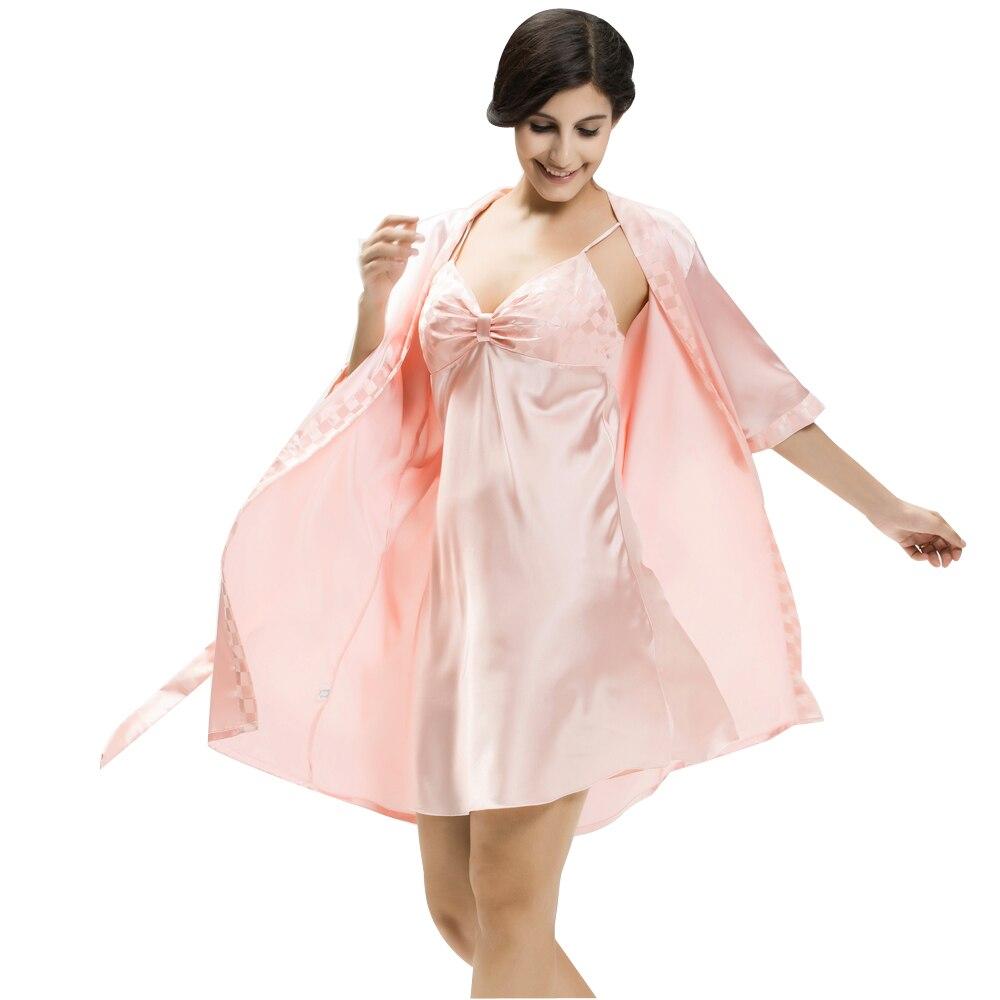 SpaRogerss Women Robe Gown Sets Summer Sleep Lounge 2 Piece Satin ...