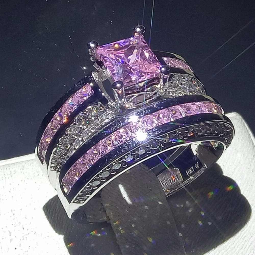90%โปรโมชั่นบิ๊กแบรนด์ใหม่หรูหราเครื่องประดับ10KTทองสีขาวเต็มไปปริ๊นเซตัดสีชมพูCZพรรคสแควร์Z Irconiaแหวนแต่งงานชุด