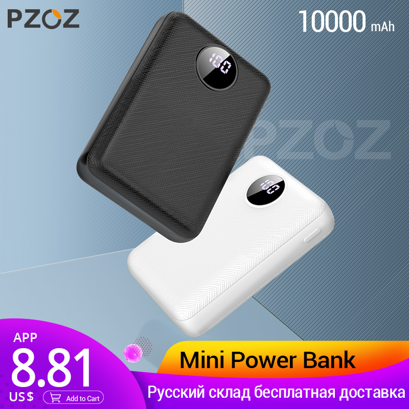 PZOZ Power Bank 10000 mAh Dual USB teléfono móvil batería externa carga rápida para iphone xiaomi mi cargador portátil mi ni powerBank