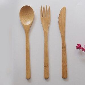 Image 3 - Garfo faca colher cultery jam utensílios de mesa conjunto acampamento ao ar livre bambu natural janpanese estilo ocidental louça