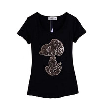 New spring summer women T-shirt 2017 fashion cartoon sequined O-neck short-sleeved T shirt tops plus size a316