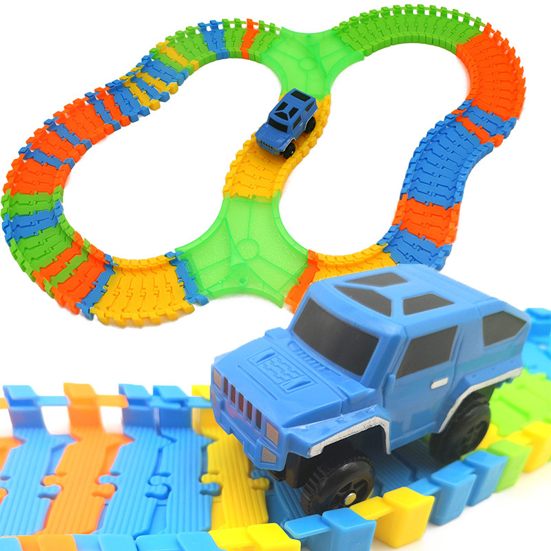 115PCS DIY Stunt Track Car Variety Rail Car Track Model Suit Train Change Lanes Recycle Run Educational Toy for Kids XWJ-150