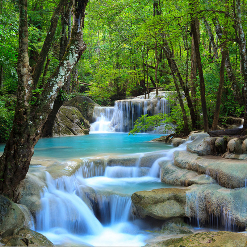 Custom Photo Wallpaper 3D HD Forest River Waterfall Backdrop Decorative  Wall Painting Living Room Bedroom Wall Covering Paper-in Wallpapers from  Home ...