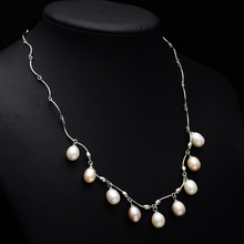 Fashion natural Freshwater pearl pendant necklace for women Multi-bead pearl pendant necklace chain bridal gift недорого