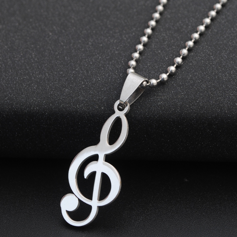 Necklace for Men Fashion Stainless steel music note pendant necklace Popular Lovely mucic sign Sweater long chain jewelry gift for woman men
