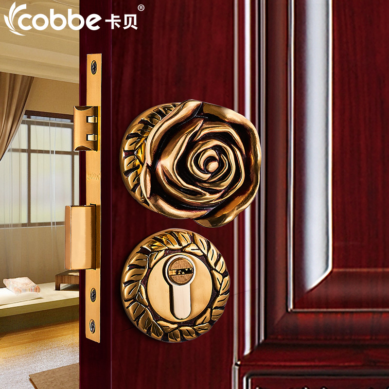 Full Brass wood Door Lock Simple Wooden Door Split Locks Zinc Alloy Indoor Door Locks Bedroom Hotel Home Office Door Lock wholesale large lockbody zinc alloy handle lock european style silent lockset indoor wooden door locks page 1