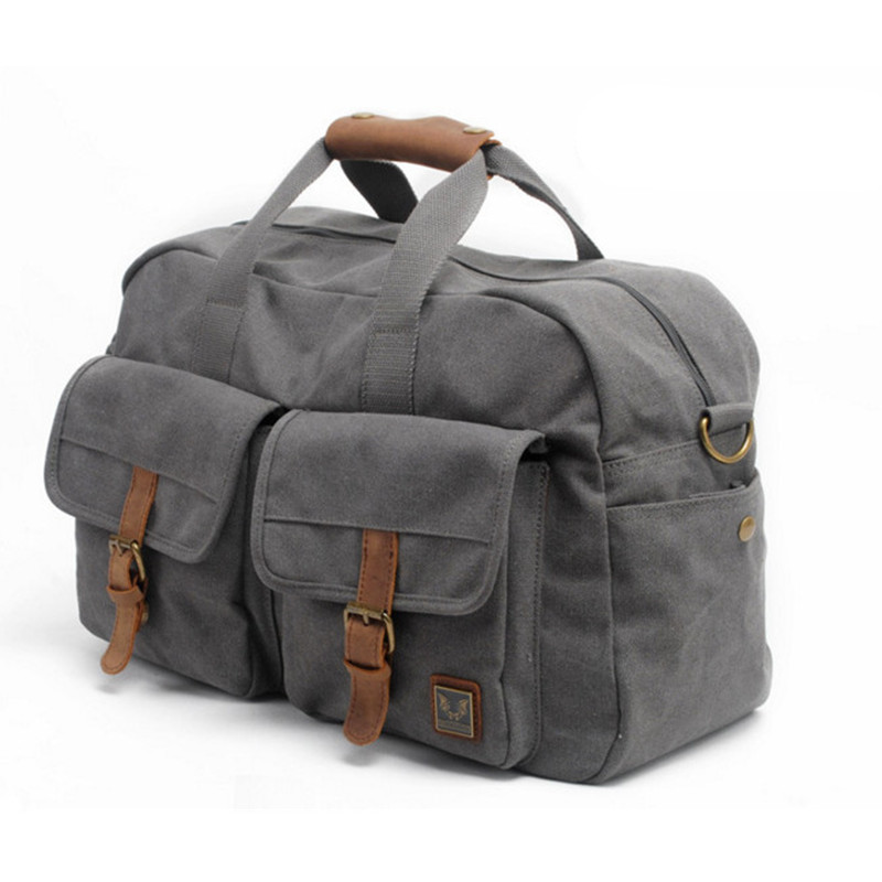 Vintage Retro military canvas leather men travel bags luggage bags Men Duffle Bags leather overnight Bag Tote carry on Luggage aosbos fashion portable insulated canvas lunch bag thermal food picnic lunch bags for women kids men cooler lunch box bag tote