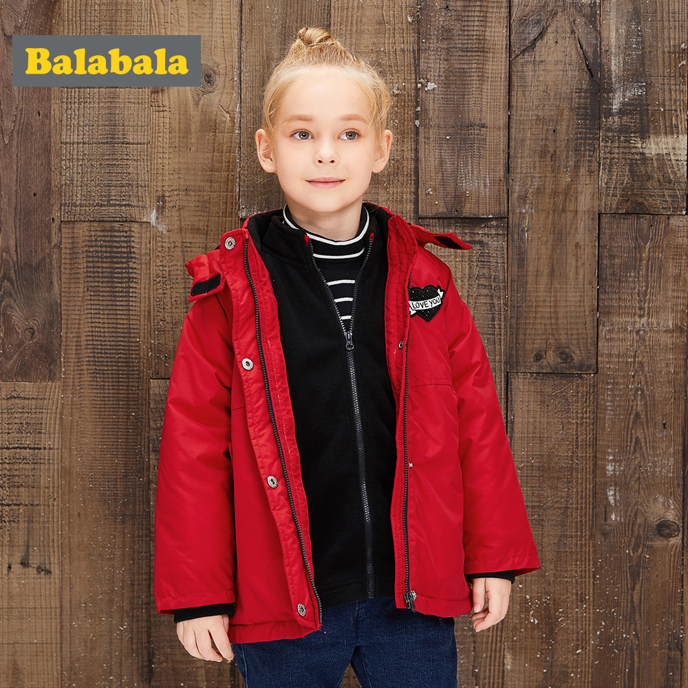 balabala Girls Children Cotton Jacket BLOUSONS Autumn Winter Plus Velvet Thick Warm Fashion Detachable Smooth Outwear For Girl