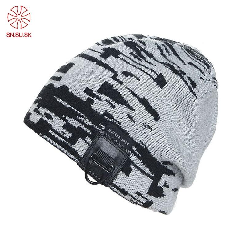 Winter Ski Hat Men Woman Sports Skating Metal Pull Ring Hip Hop Hats Beanies Head Warm