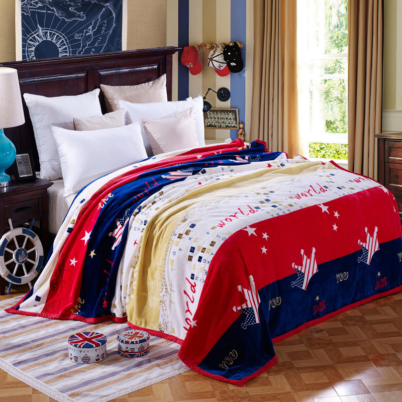 American Style World Crown Printed Plush Fleece Blanket For Cuddling Velvet  Bed Sofa Couch Single Twin