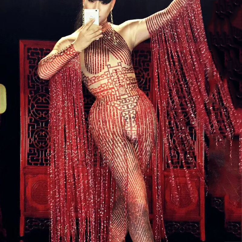 Jazz Dance Costumes Red Tassel Sexy Jumpsuit BodySuit Outfit Bar Dj Led Suit Nightclub Stag Party