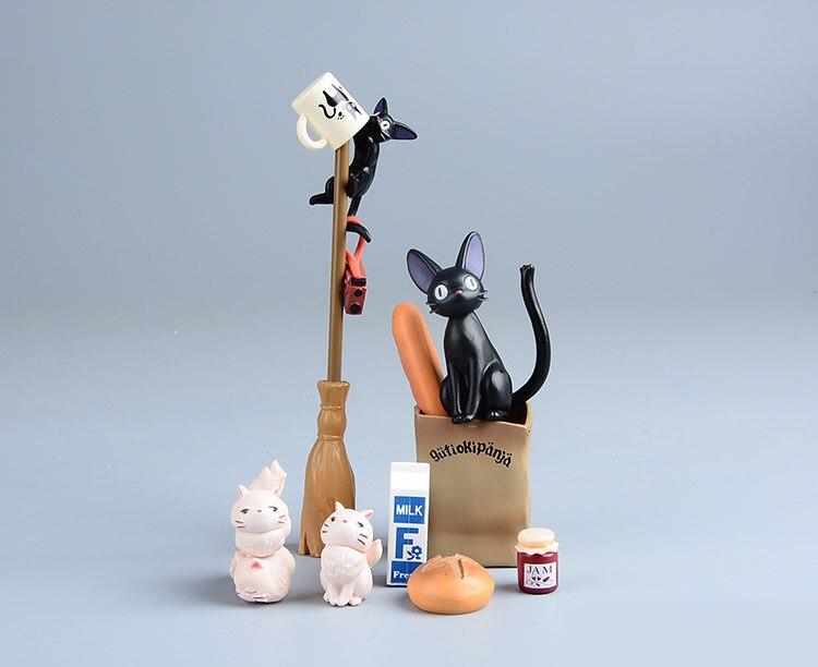 Hayao Miyazaki Kiki's Delivery Service Black Cat Jiji DIY Figure Doll PVC Plastic Crafts decorative ornaments Action Figures new kiki gigi bakery kiki s delivery service reconstruction animiation action figure doll house kid toy miniature diorama model