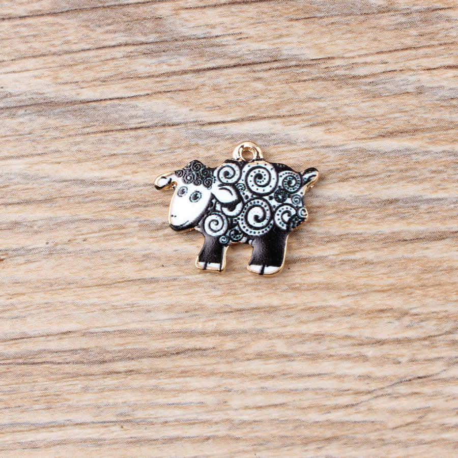 10pcs 17x21mm אמייל כבשים קסם עבור תכשיטי ביצוע אופנה עגיל תליון אופנה קסמי