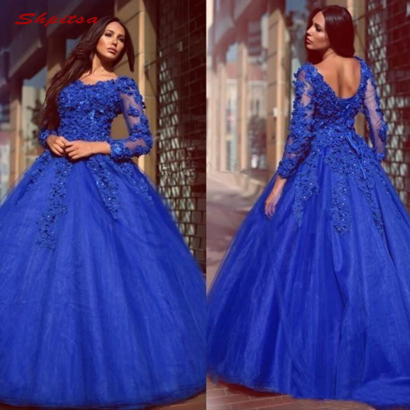 Royal Blue Lace Quinceanera Dresses Ball Gown Long Sleeve Tulle Prom Debutante Sixteen 15 Sweet 16