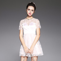 Sexy Party Dress Women Occasion Spliced See Through Dotted Tube Mini Dresses Pink Plus Size S