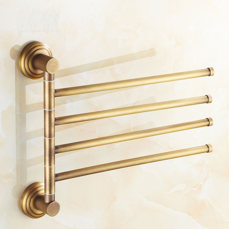 2/3/4 rod Rotating retro towel rack, Fashion antique copper towel bar shelf, Bathroom kitchen towel hanging rack vintage new arrival antique copper with ceramic towel rod rack shelf towel rack fashion bathroom accessories luxury bath towel hj 1812 page 7