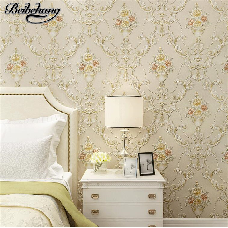 beibehang 3D Stereo Relief European Pastoral Nonwovens Wallpaper Warm and romantic Living Room Bedroom Background Wallpaperbeibehang 3D Stereo Relief European Pastoral Nonwovens Wallpaper Warm and romantic Living Room Bedroom Background Wallpaper