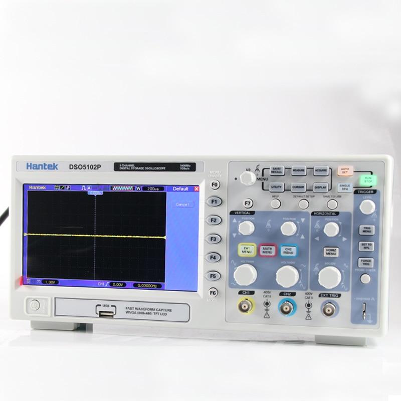Hantek dso5102p osciloscópio digital 100 mhz 2 canais 1gs/s 7 tft tft lcd 800x480 comprimento de registro 24 k usb AC110-220V