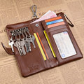 2014 New,High quality cowhide men's genuine leather key wallet,fashion coin case bags w/ bank credit card pockets, TCKW06