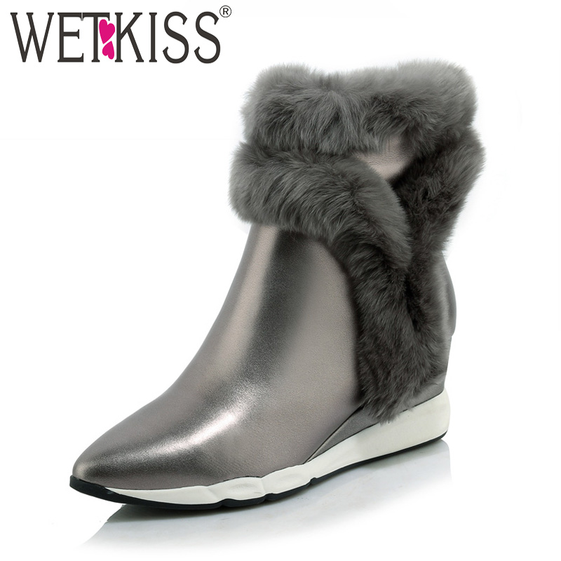 WETKISS 2018 Genuine Leather Rabbit Fur Shoes Woman Ankle Boots Zipper Wedges Winter Boots Pointed toe Platform Footwear Female wetkiss 2018 genuine leather rabbit fur shoes woman ankle boots zipper wedges winter boots pointed toe platform footwear female