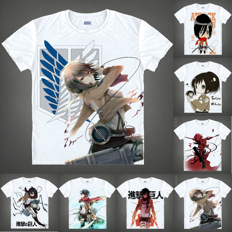 Coolprint Anime Shirt Attack on Titan T-Shirts Multi-style Short Sleeve Scout Regiment Mikasa Ackerman Cosplay Hentai Shirts