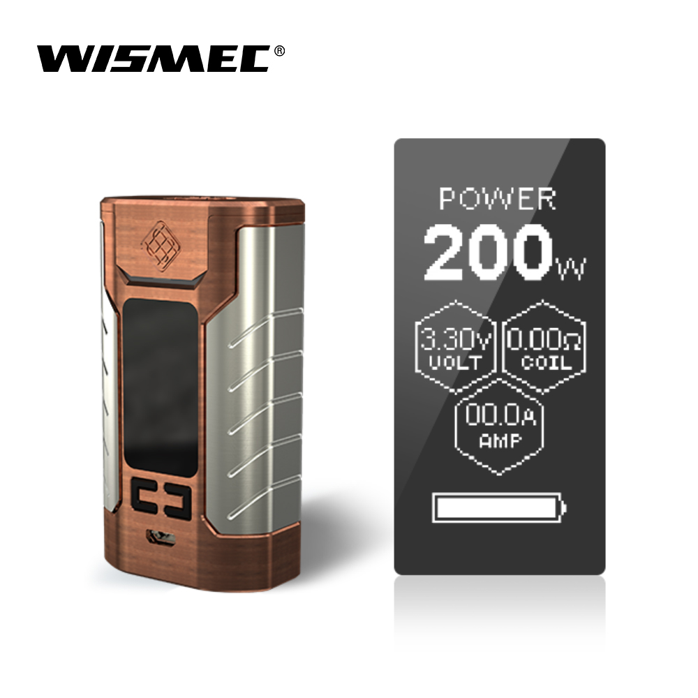 Original Wismec Sinuous FJ200 Mod Box 200W Output Vape Mod with Built in 4600mah Battery VW/TC-Ni/TC-Ti/TC-SS/TCR mode E-cigs