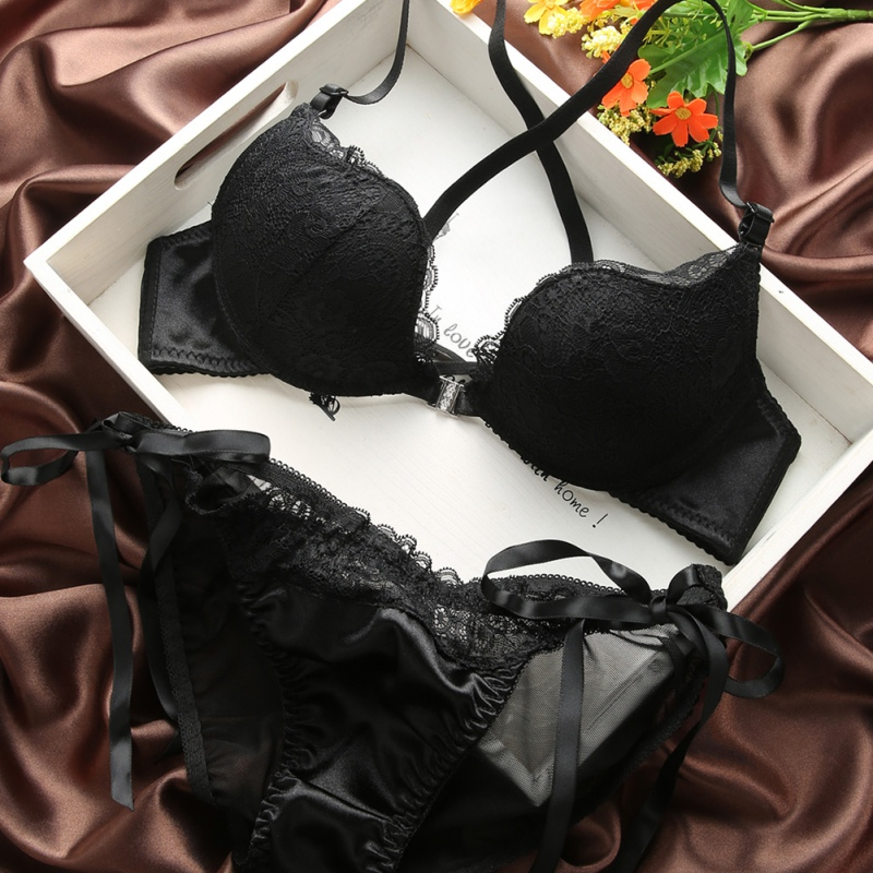 Woman Lingerie Sexy Front Buckle Bras Front Closure U Shape Push Up Bra and Panty Set Y2