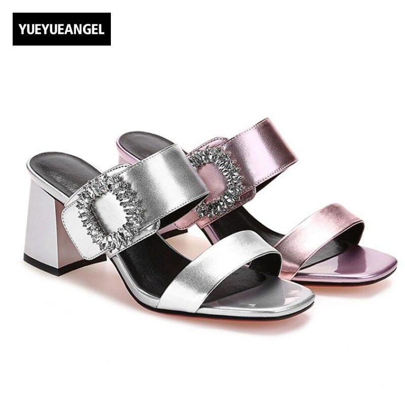 где купить Euro Fashion Women Peep Toe Crystal Block High Heels Slippers Shoes 2018 New Sexy Diamond Genuine Leather Ladies Party Sandals по лучшей цене