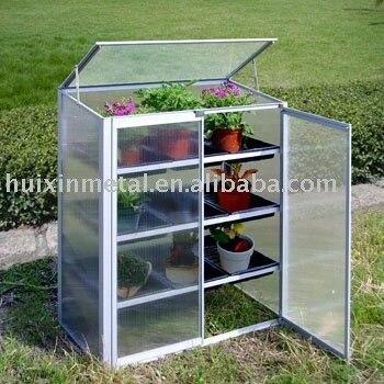 jardin en plastique mini serre avec cadre en aluminium