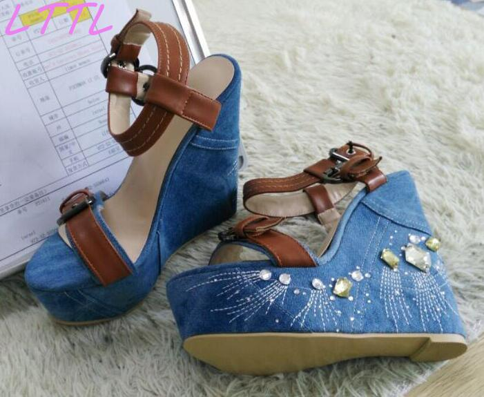 Summer Hot Crystal Side Women Fashion Blue Denim Sandals Brown Leather Buckles Ladies Sexy Wedge Heel High Quality Shoe fashion summer apricot sandals charming multi buckles design woman high heels ankle buckles cover heel back zipper free ship
