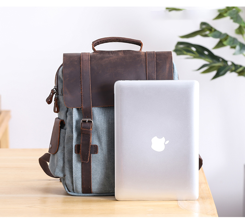 Manitoba Small Canvas Backpack with a computer