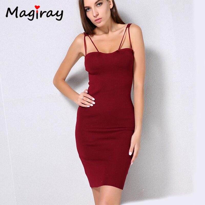 Magiray Knitted Spaghetti Strap Bodycon Mini Dress Women Off Shoulder 2018 Summer Split Sexy Club Party Vestidos Robe Femme C202 цена