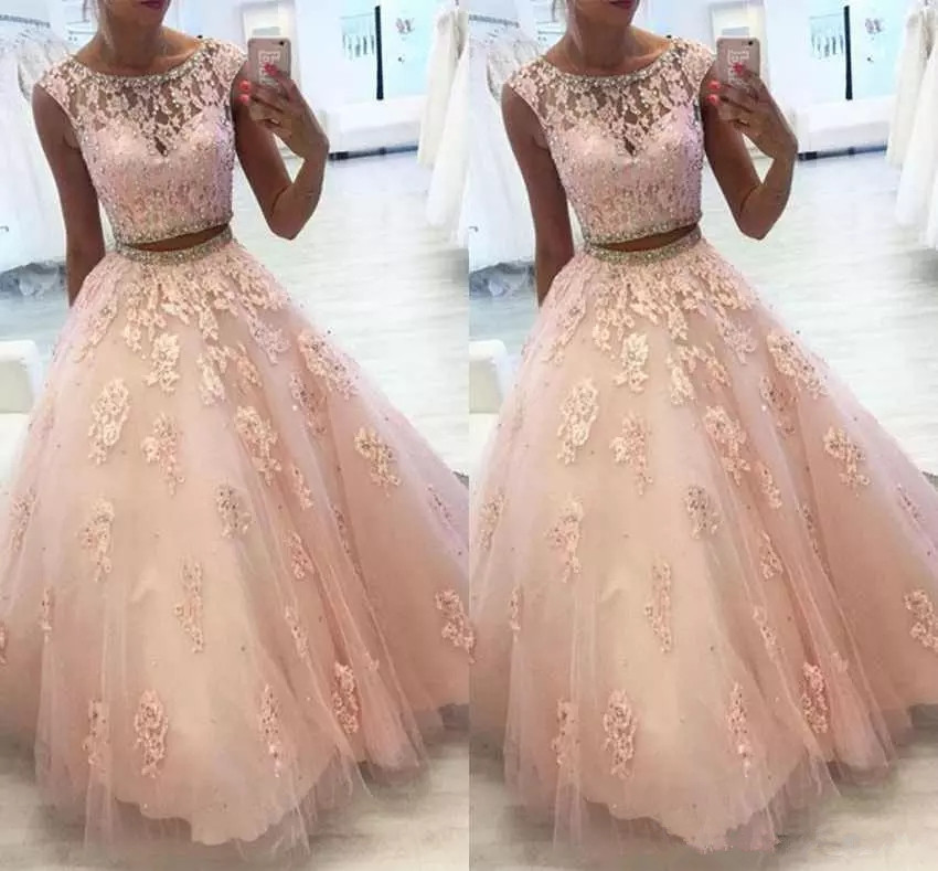 Two Piece Lace Quinceanera Dre...