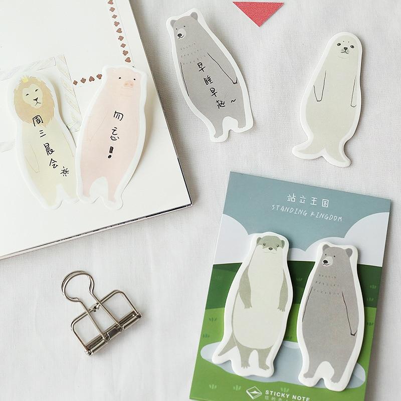 4 stücke Stehend memo pad Niedlichen tier bär pinguin fuchs sticky note Book marker aufkleber Büro planer agenda Schule liefert f594