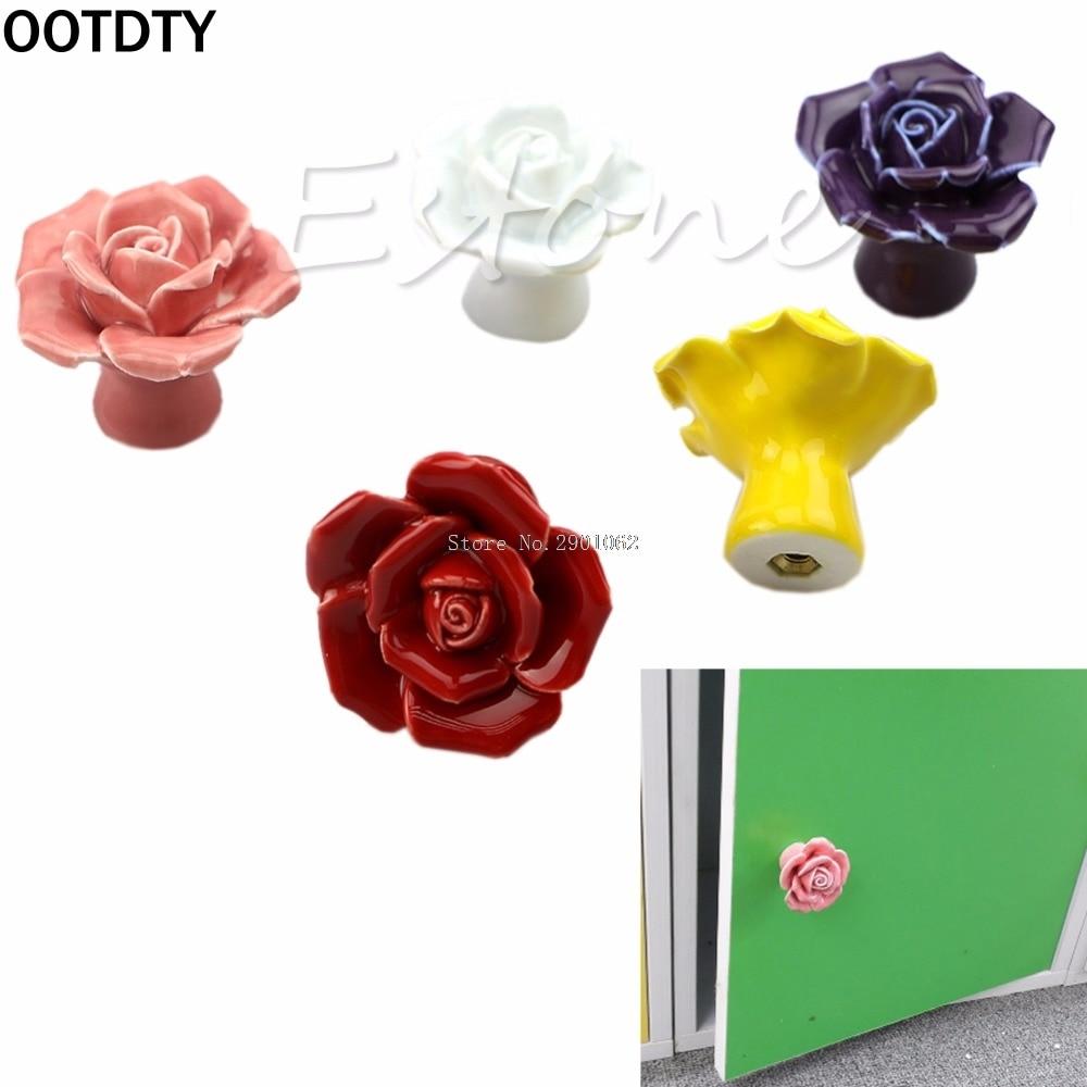 OOTDTY 1SET  Handle Door Cabinet Vintage Drawer Knob Rose Flower Ceramic Cupboard Nice Gifts -B119 1set new handle door cabinet vintage drawer knob rose flower ceramic cupboard