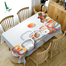 Senisaihon 3D Tablecloth Yellow Geometric Circle Pattern Polyester Dustproof Table cloth Christmas Dinner Decoration Cover