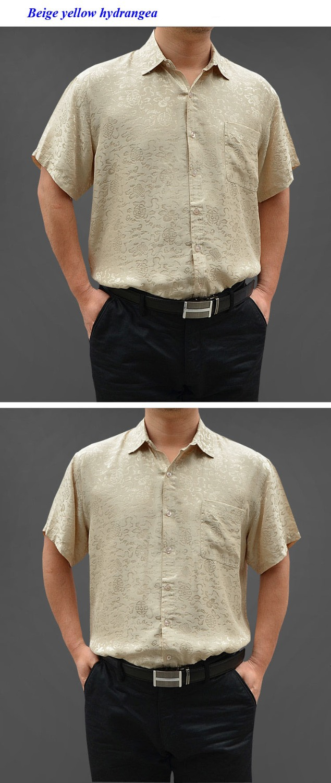 100% natural silk short sleeve shirt men,pure silk business casual plaid shirts,100% silk turn down collar men shirt - 2