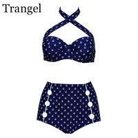 Trangel Swimsuit Women Plus Size Bikini 2017 High Waist Bikini Set Button Cross Top Retro Bikini