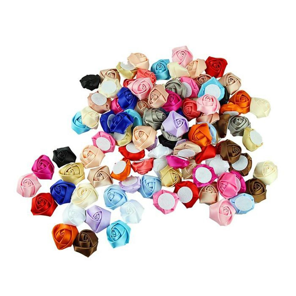 100Pcs/lot DIY Baby Kids Satin Rolled Ribbon Rose Flowers Polyester Fabric Rosettes Hair Accessories