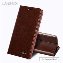 Wangcangli Virar três cartão cera óleo da pele flip coldre telefone Para Samsung Galaxy caso de telefone Note8 todas feitas à mão personalizado