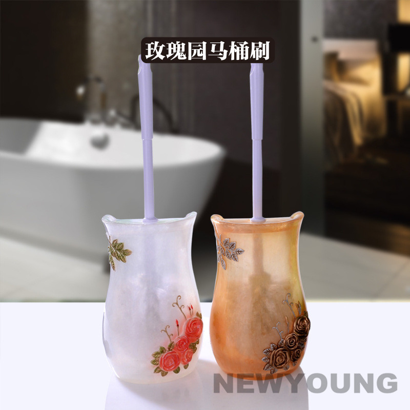Europe Country Style Resin Creative Toilet Brush Holder Bathroom Antique Noble Rose Base Household Cleaning Tool