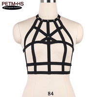 Punk Goth Spike Harness Lingerie Adjust Back Size Bustier Elastic Strappy Tops Bondage Body Cage Bra Fetish Erotic Burlesque BRA